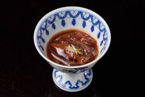 富山で仕込んだホタルイカ醤油漬け(沖漬け)盛り付け例