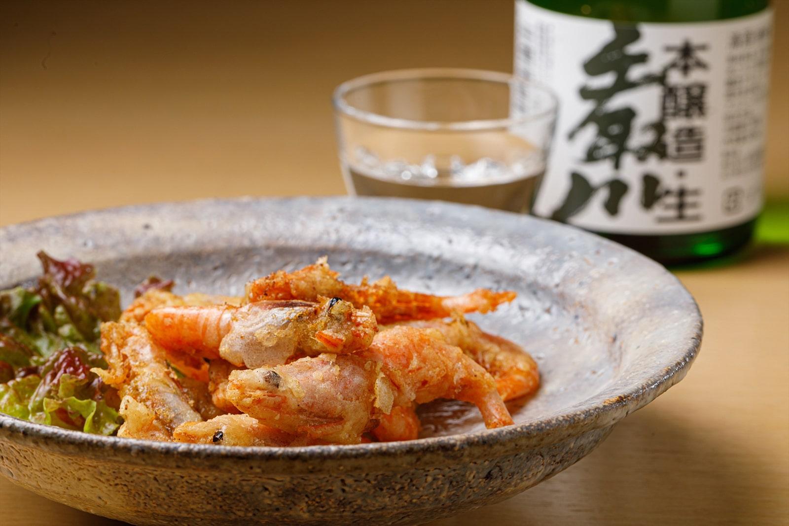 唐揚げ用あまえび調理例withお酒