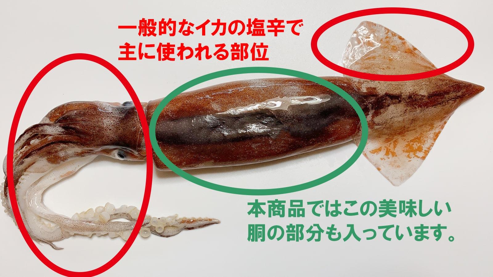 塩辛で使われている部位の違い